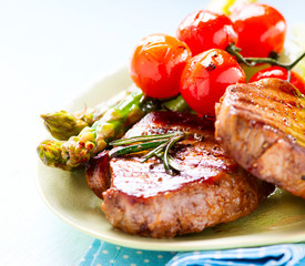 Grilled Beef Steak Meat with Asparagus and Cherry Tomatoes