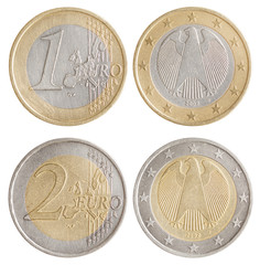 Coins of 1 and 2 Euro - European Union money. Obverse and revers