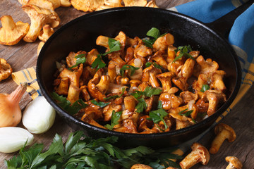 fried chanterelle mushrooms with onion and parsley in a pan