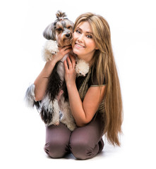 woman with her dog Yorkshire Terrier
