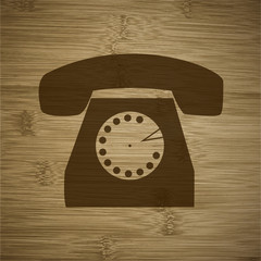 retro phone icon flat design with abstract background
