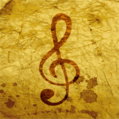 treble clef icon. Flat with abstract background