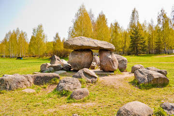 Dolmen in geological park-museum of boulders in Minsk, Belarus.