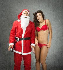 Santa Claus with sexy girl unbelievable faces