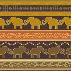 Ethnic ornamental colorful pattern with elephants