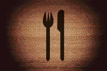 crossed fork over knife icon Flat with abstract background