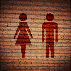 Man and woman icon. Flat with abstract background