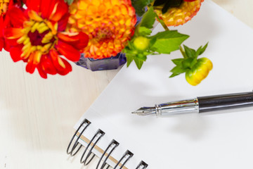 Zinnia Bouquet and Fountain Pen