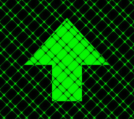 up arrow icon Flat with abstract background