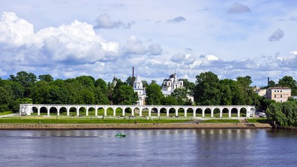 Colonnade in the fort, Veliky Novgorod, Russia