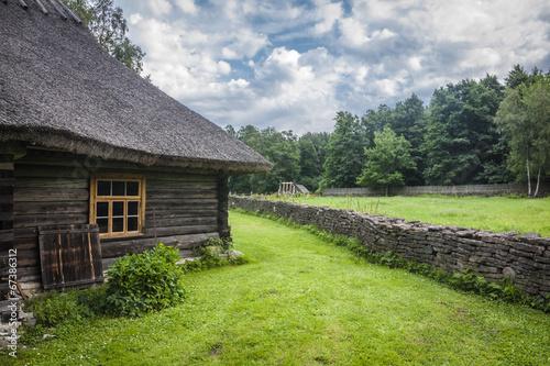 Leinwanddruck Bild Traditional housing of the indigenous populations of Estonia