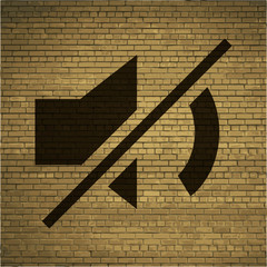 Mute sound icon Flat with abstract background
