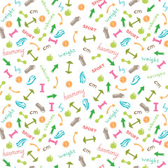 seamless pattern with icons of sports, slimming, fitness