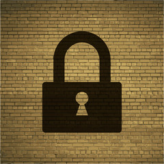 padlock icon flat design with abstract background