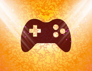 Gaming Joystick icon flat design with abstract background