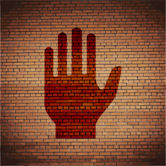 Stop. hand. icon flat design with abstract background