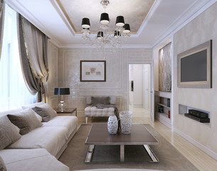 Living room, art deco style, classic style
