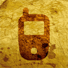 Mobile phone icon flat design with abstract background