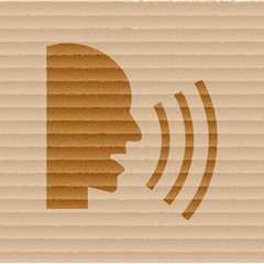 Talking icon flat design with abstract background