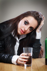 woman in depression drink