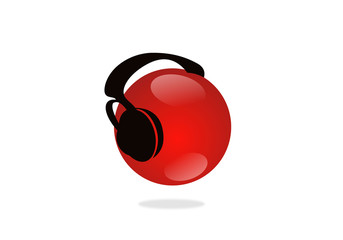 earphone and sphere music logo