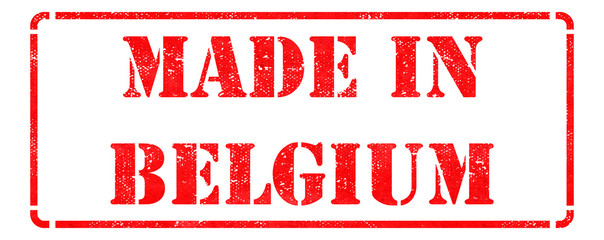 Made in Belgium on Red Rubber Stamp.