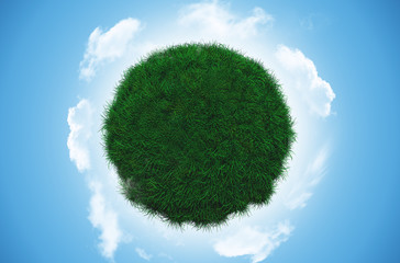 Grass globe with clouds