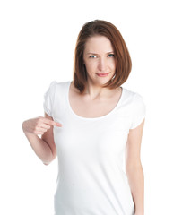 Girl in a white T-shirt isolated on white background