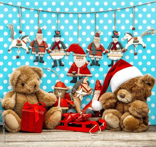 Naklejka vintage christmas decoration with antique toys