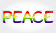Peace stylized word with rainbow