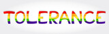 Tolerance stylized word with rainbow poster