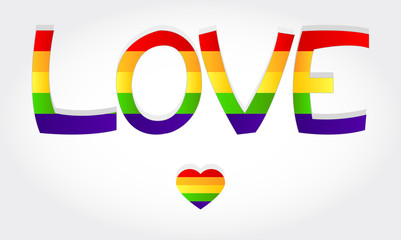 Love stylized word with rainbow and one heart