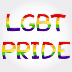 """LGBT pride"" phrase stylized with rainbow"