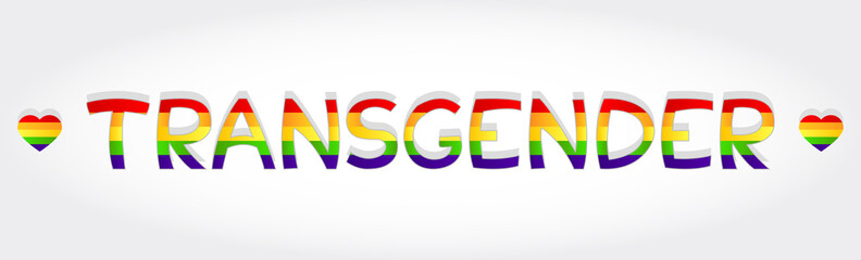 Transgender stylized word with rainbow and two heart