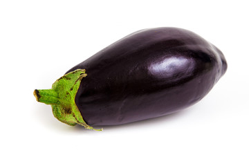 Fresh ripe eggplant isolated on white background