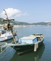 Poor fisherman's boat in Fethiye harbour, Turkey