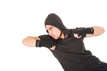 young fighter man wearing black hoodie