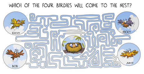 Funny labyrinth with birds.