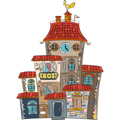 Vector fairytale multicolored house