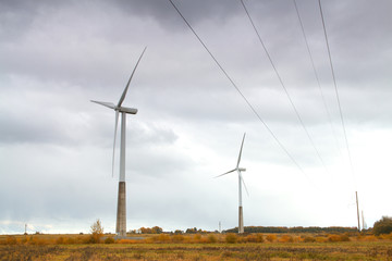 windmills in the autumn landscape