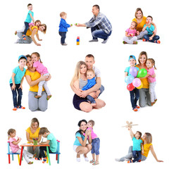 Set photos of happy families isolated on white