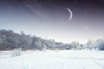 winter river at night. Elements of this image furnished by NASA