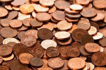 Coins background.  euro coins.  cent coins. euro cents.