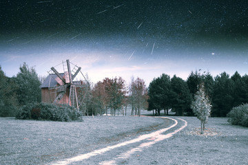 village in winter. Elements of this image furnished by NASA