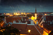 Fabulous medieval city at night. Elements of this image furnishe