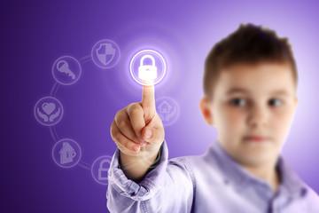 Padlock. Boy pressing a virtual touch screen. Purple background.