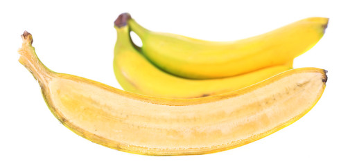 Halved ripe banana isolated on white