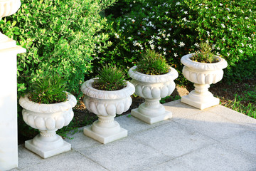 Stone planters with flowers in garden