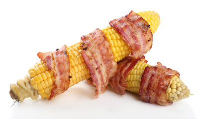 Grilled bacon wrapped corn, isolated on white