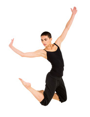 female contemporary dancer on white